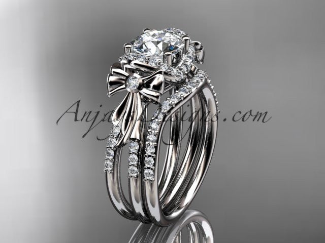 14kt white gold diamond unique engagement set, wedding ring, bow ring ADER155S - AnjaysDesigns