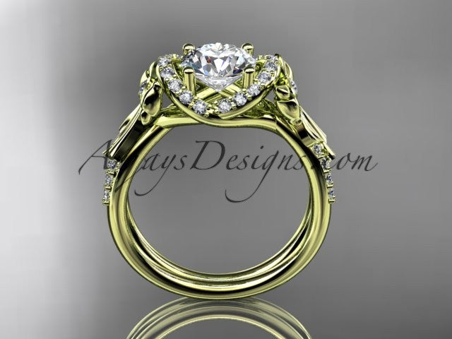 "14kt yellow gold diamond unique engagement ring, wedding ring with a ""Forever One"" Moissanite center stone ADER155 - AnjaysDesigns"