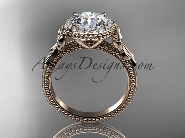 14kt rose gold diamond unique engagement ring, wedding ring ADER157 - AnjaysDesigns
