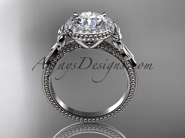 "14kt white gold diamond unique engagement ring, wedding ring with a ""Forever One"" Moissanite center stone ADER157 - AnjaysDesigns"