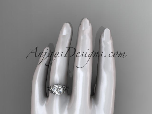 platinum diamond unique engagement ring, wedding ring ADER157 - AnjaysDesigns