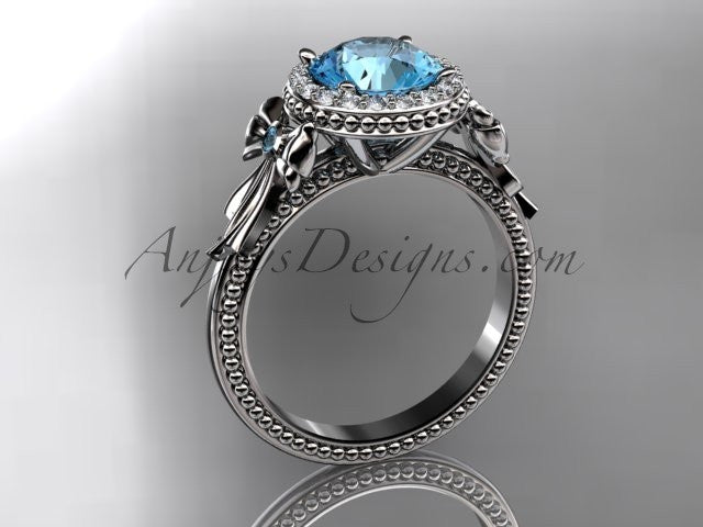 14kt white gold diamond unique engagement ring, wedding ring ADER157 with blue topaz center stone - AnjaysDesigns