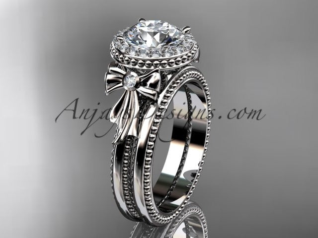 14kt white gold diamond unique engagement set, wedding ring ADER157S - AnjaysDesigns