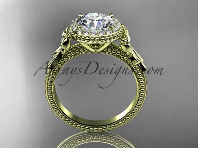 "14kt yellow gold diamond unique engagement ring, wedding ring with a ""Forever One"" Moissanite center stone ADER157 - AnjaysDesigns"