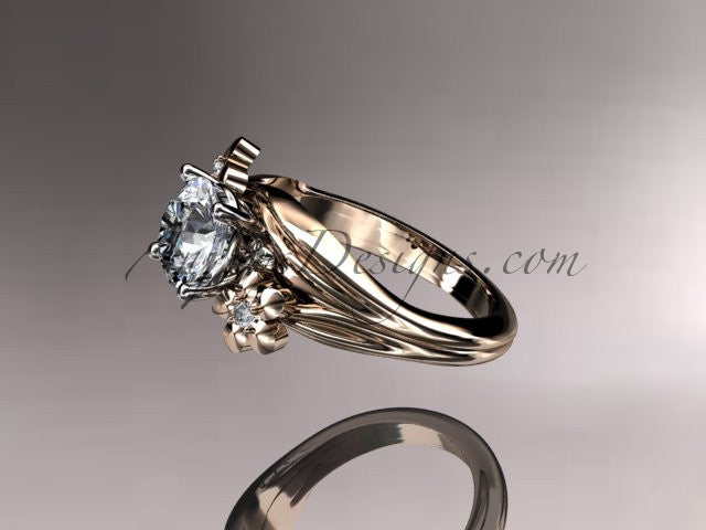 14kt rose gold diamond leaf and vine wedding ring, engagement ring ADLR159 - AnjaysDesigns
