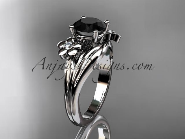 platinum diamond leaf and vine wedding ring, engagement ring with a Black Diamond center stone ADLR159 - AnjaysDesigns