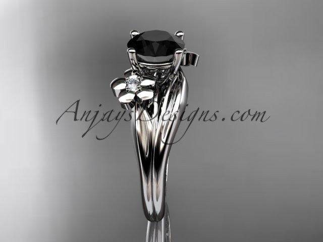 14k white gold diamond leaf and vine wedding ring, engagement ring with a Black Diamond center stone ADLR159 - AnjaysDesigns