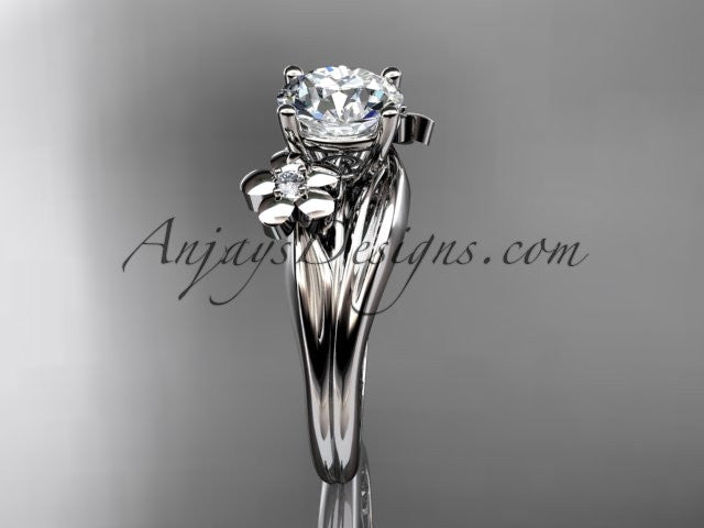"Platinum diamond leaf and vine wedding ring, engagement ring with a ""Forever One"" Moissanite center stone ADLR159 - AnjaysDesigns"