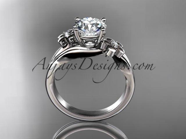 "14k white gold diamond leaf and vine wedding ring, engagement ring with a ""Forever One"" Moissanite center stone ADLR159 - AnjaysDesigns"