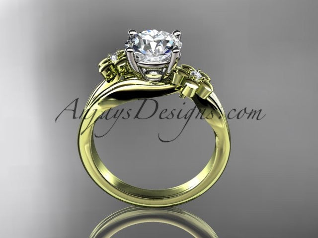 14kt yellow gold diamond leaf and vine wedding ring, engagement ring ADLR159 - AnjaysDesigns