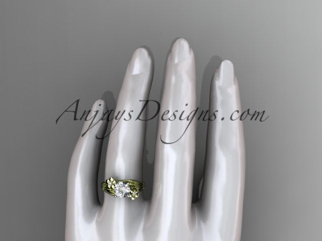 "14k yellow gold diamond leaf and vine wedding ring, engagement ring with a ""Forever One"" Moissanite center stone ADLR159 - AnjaysDesigns"