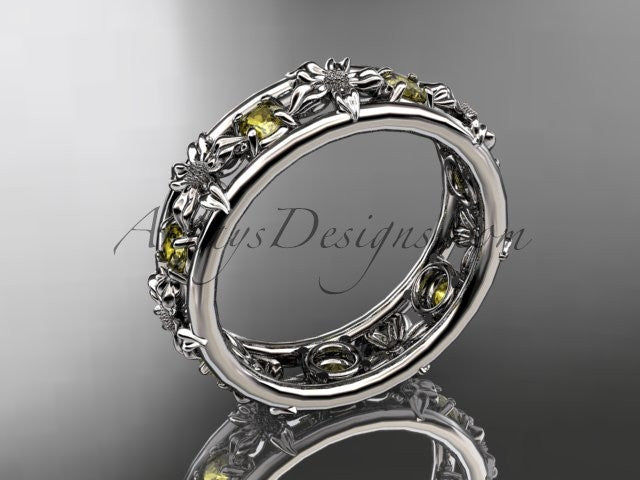 14kt white gold diamond leaf wedding ring, engagement ring, wedding band. ADLR160 nature inspired jewelry - AnjaysDesigns