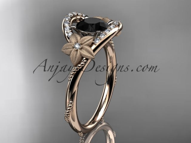 14kt rose gold diamond unique engagement ring with a Black Diamond center stone ADLR166 - AnjaysDesigns