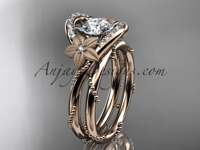 "14kt rose gold diamond unique engagement set with a ""Forever One"" Moissanite center stone ADLR166S - AnjaysDesigns"