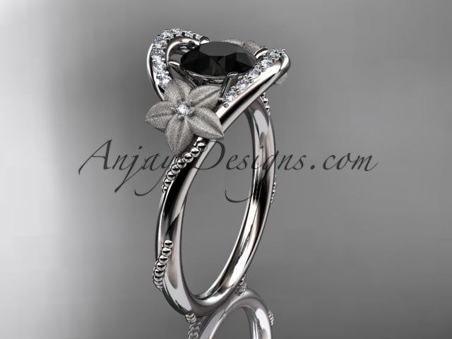 14kt white gold diamond unique engagement ring with a Black Diamond center stone ADLR166 - AnjaysDesigns