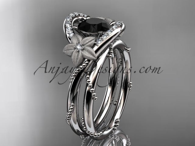14kt white gold diamond unique engagement set with a Black Diamond center stone ADLR166S - AnjaysDesigns