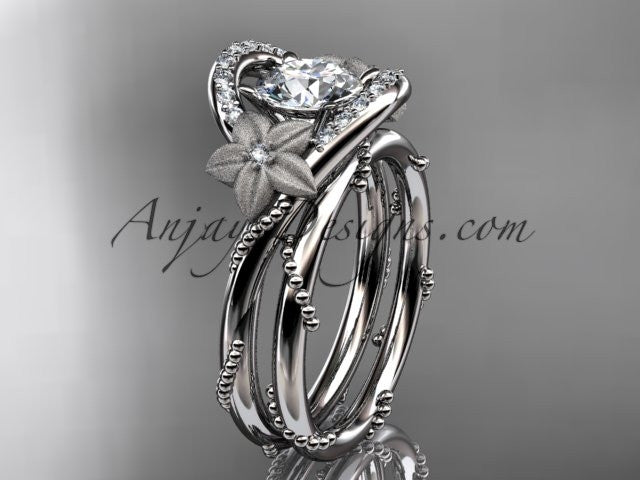 "14kt white gold diamond unique engagement set with a ""Forever One"" Moissanite center stone ADLR166S - AnjaysDesigns"