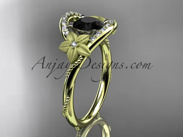 14kt yellow gold diamond unique engagement ring with a Black Diamond center stone ADLR166 - AnjaysDesigns