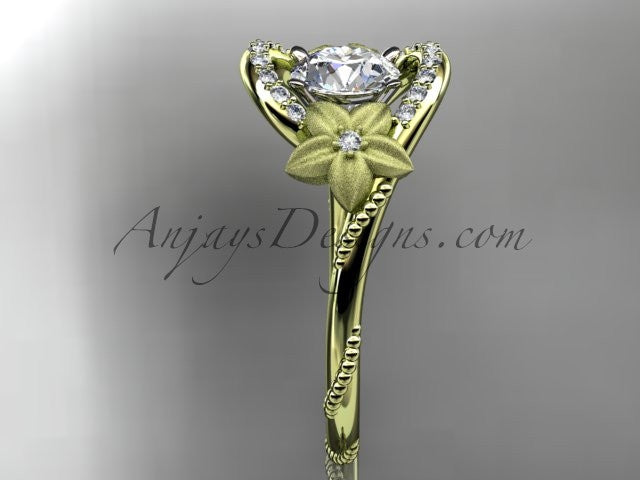 14kt yellow gold diamond unique engagement ring ADLR166 - AnjaysDesigns
