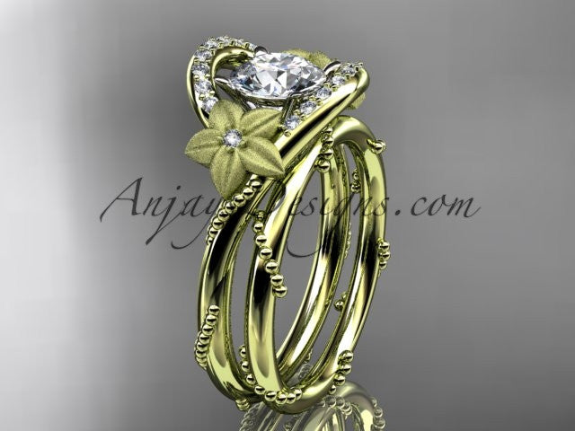 "14kt yellow gold diamond unique engagement set with a ""Forever One"" Moissanite center stone ADLR166S - AnjaysDesigns"