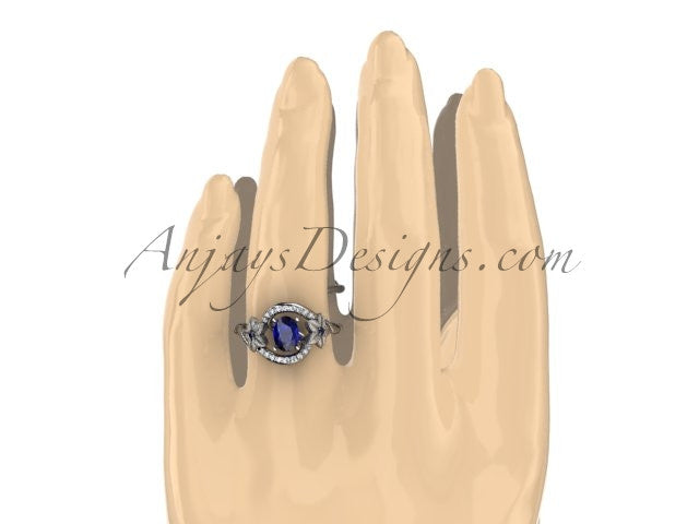 14kt white gold diamond unique floral engagement ring,wedding ring ADLR166. with natural royal blue sapphire center stone - AnjaysDesigns