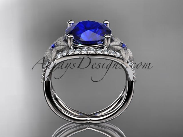14kt white gold diamond floral engagement ring ADLR167 3.85ct blue Sapphire - AnjaysDesigns