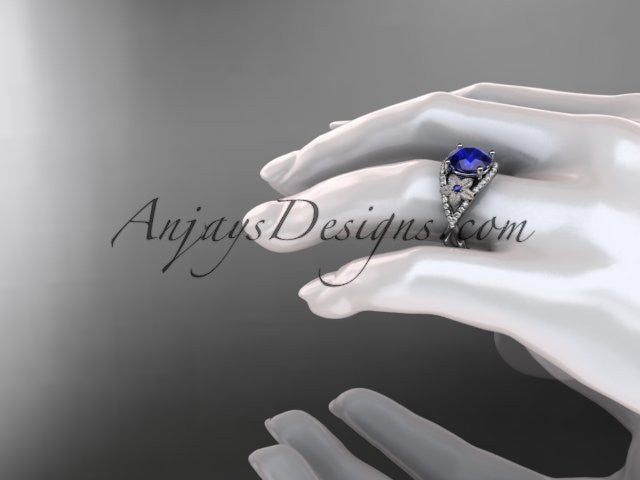 Platinum diamond floral engagement ring ADLR167 3.85ct blue Sapphire - AnjaysDesigns