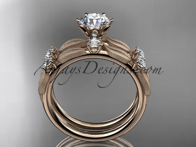 "14kt rose gold diamond unique leaf and vine engagement set, wedding set with a ""Forever One"" Moissanite center stone ADER177S - AnjaysDesigns"