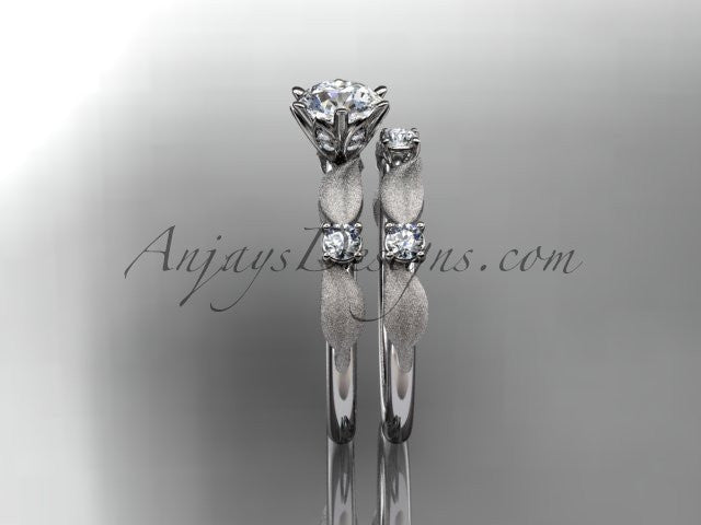 "14kt white gold diamond unique leaf and vine engagement set, wedding set with a ""Forever One"" Moissanite center stone ADER177S - AnjaysDesigns"
