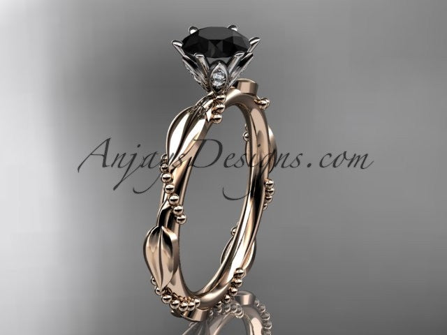 14k rose gold diamond vine and leaf wedding ring with a Black Diamond center stone ADLR178 - AnjaysDesigns
