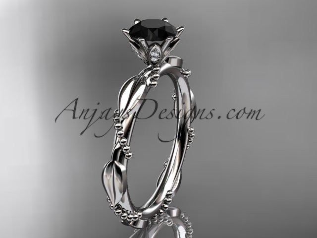 14k white gold diamond vine and leaf wedding ring with a Black Diamond center stone ADLR178 - AnjaysDesigns