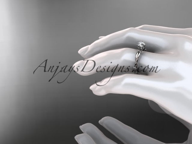 "14k white gold diamond vine and leaf wedding ring with a ""Forever One"" Moissanite center stone ADLR178 - AnjaysDesigns"