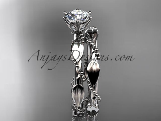 14k white gold diamond vine and leaf wedding ring, engagement set ADLR178S - AnjaysDesigns