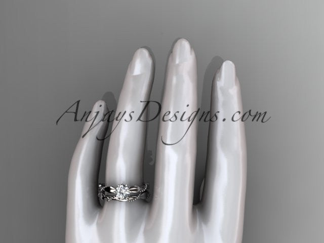 "14k white gold diamond vine and leaf wedding ring, engagement set with a ""Forever One"" Moissanite center stone ADLR178S - AnjaysDesigns"