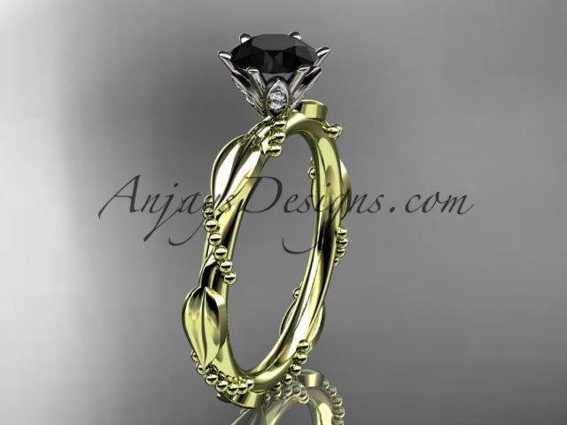 14k yellow gold diamond vine and leaf wedding ring with a Black Diamond center stone ADLR178 - AnjaysDesigns
