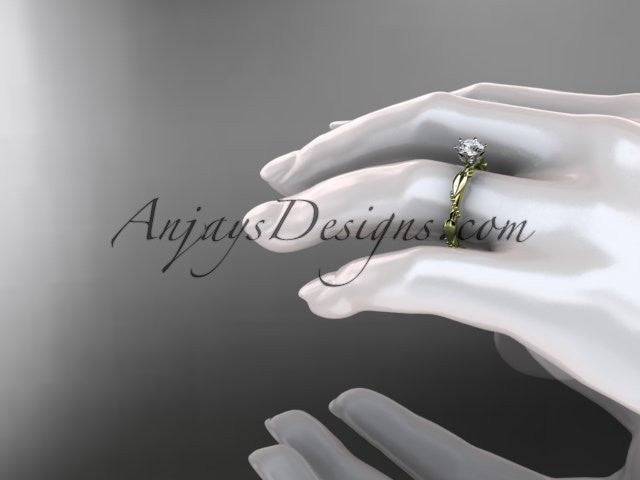"14k yellow gold diamond vine and leaf wedding ring with a ""Forever One"" Moissanite center stone ADLR178 - AnjaysDesigns"