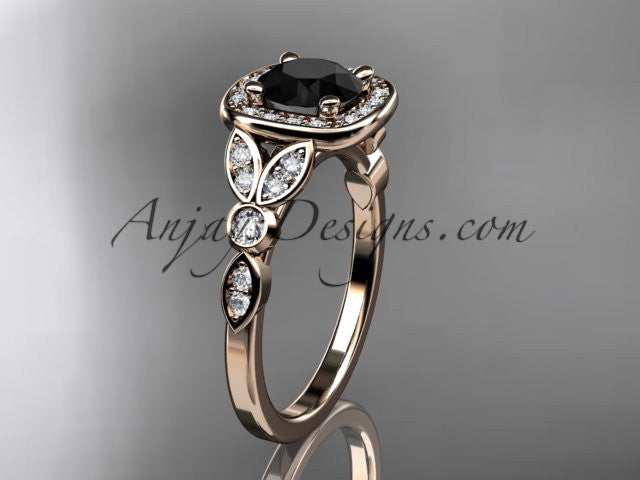 14kt rose gold diamond leaf and vine wedding ring, engagement ring with a Black Diamond center stone ADLR179 - AnjaysDesigns