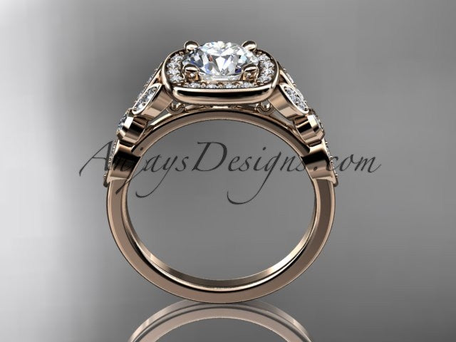 14kt rose gold diamond leaf and vine wedding ring, engagement ring ADLR179 - AnjaysDesigns