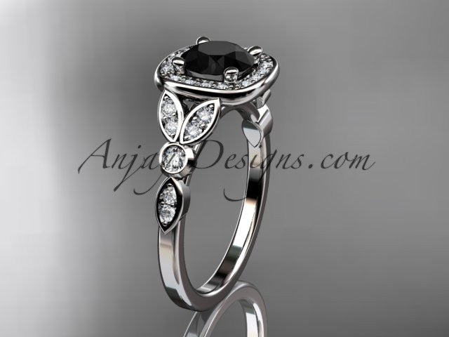 14kt white gold diamond leaf and vine wedding ring, engagement ring with a Black Diamond center stone ADLR179 - AnjaysDesigns