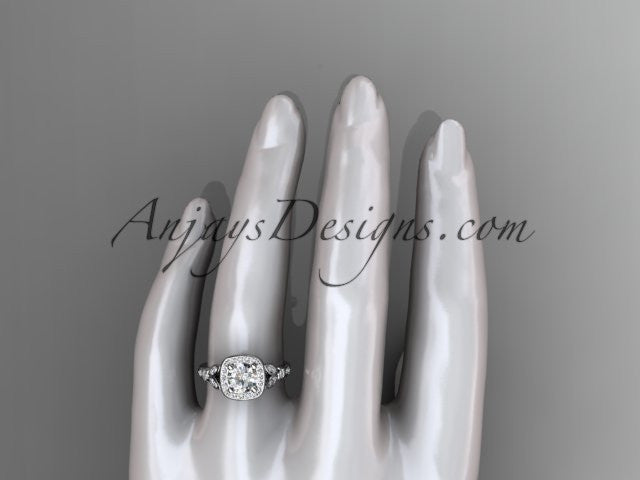 "14kt white gold diamond leaf and vine wedding ring, engagement ring with a ""Forever One"" Moissanite center stone ADLR179 - AnjaysDesigns"
