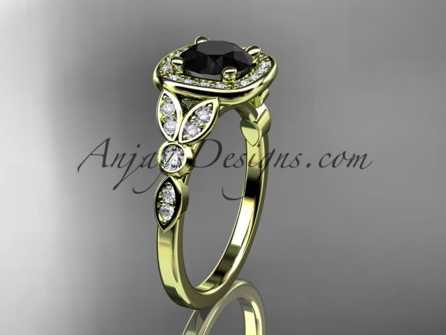 14kt yellow gold diamond leaf and vine wedding ring, engagement ring with a Black Diamond center stone ADLR179 - AnjaysDesigns