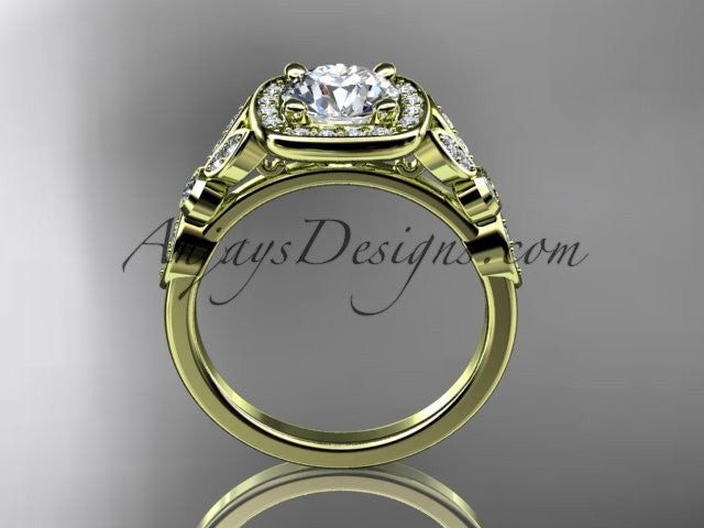14kt yellow gold diamond leaf and vine wedding ring, engagement ring ADLR179 - AnjaysDesigns