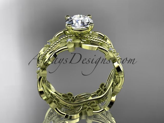 "14kt yellow gold diamond leaf and vine wedding ring, engagement ring with a ""Forever One"" Moissanite center stone ADLR188 - AnjaysDesigns"