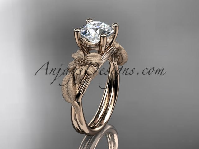 14kt rose gold diamond leaf and vine engagement ring ADLR189 - AnjaysDesigns