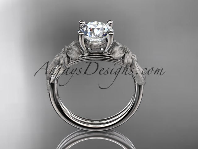 "14kt white gold leaf and vine engagement ring with a ""Forever One"" Moissanite center stone ADLR189 - AnjaysDesigns"