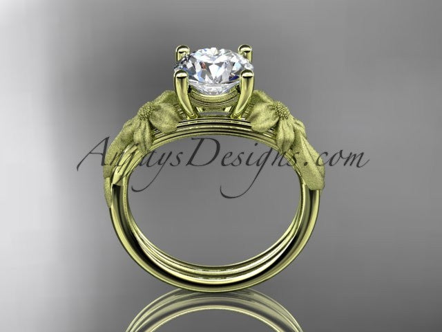 14kt yellow gold diamond leaf and vine engagement ring ADLR189 - AnjaysDesigns