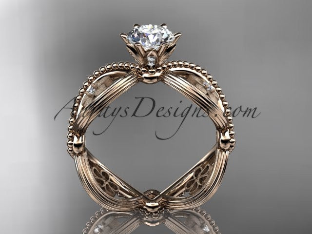 14kt rose gold diamond floral wedding ring, engagement ring ADLR192 - AnjaysDesigns