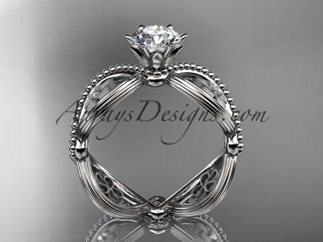 "14kt white gold diamond floral wedding ring, engagement ring with a ""Forever One"" Moissanite center stone ADLR192 - AnjaysDesigns"