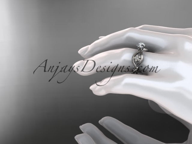 14kt white gold diamond floral wedding ring, engagement ring ADLR192 - AnjaysDesigns