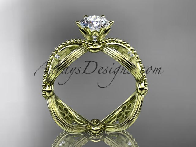 14kt yellow gold diamond floral wedding ring, engagement ring ADLR192 - AnjaysDesigns